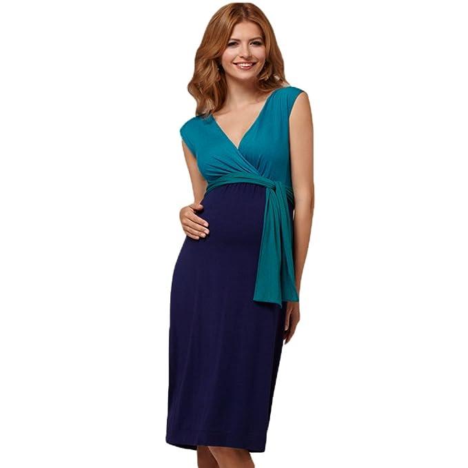 Binhee Vestidos Embarazadas Azul Vestido De Desgaste Sexy Para Mujeres Embarazadas: Amazon.es: Ropa y accesorios
