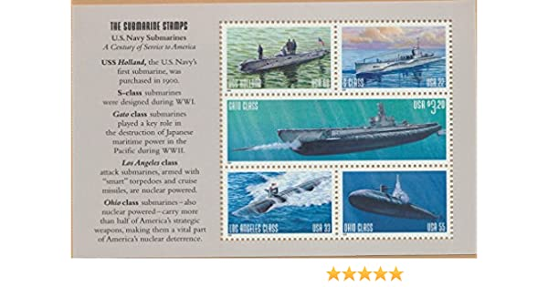 Amazon.com: U.S. Navy Submarines, Full Pane of 5 Postage Stamps, USA 2000, Scott 3373-77: Toys & Games