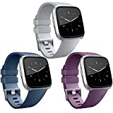 Vancle Band Compatible with Fitbit Versa Bands 3 Pack, Classic Accessories Replacement Wristbands for Fitbit Versa Smartwatch, Grey Navy-Blue Plum, Small