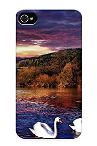 Freshmilk VitCA0xXhud Protective Case For Iphone 4/4s(sunset River Swans Landscape ) - Nice Gift For Lovers