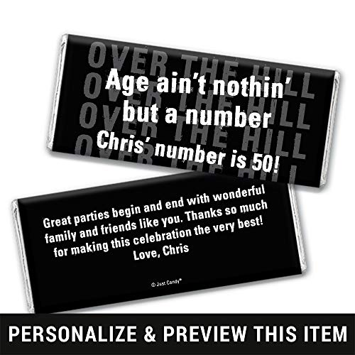 (Over the Hill Birthday Candy Favors Personalized Chocolate Bar Wrappers Only (25 Wrappers))