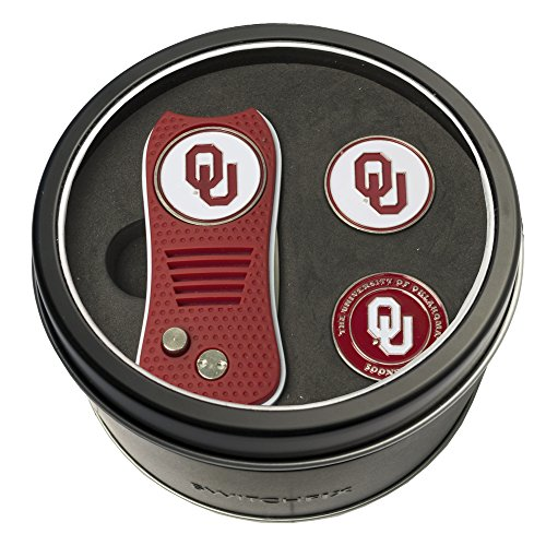 Team Golf NCAA Oklahoma Sooners Gift Set Switchblade Divot Tool with 3 Double-Sided Magnetic Ball Markers, Patented Single Prong Design, Causes Less Damage to Greens, Switchblade Mechanism ()