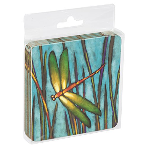 Tree-Free Greetings Set Of 4 Cork-Backed Coasters, 3.75 x 3.75 Inches, Beautiful Dragonfly Themed Robert Ichter Art ()