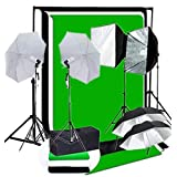 CanadianStudio Photo Digital Video Studio 1400 watt output Continuous Umbrella softbox Lighting Light Black/White/green High Key Muslin Backdrop Stand Kit- free shipping