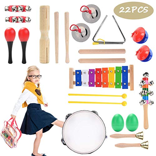 22 Pcs Wooden Toddler & Baby Musical Instruments Set Music Band Education Percussion Toys for Kids Preschool Educational…