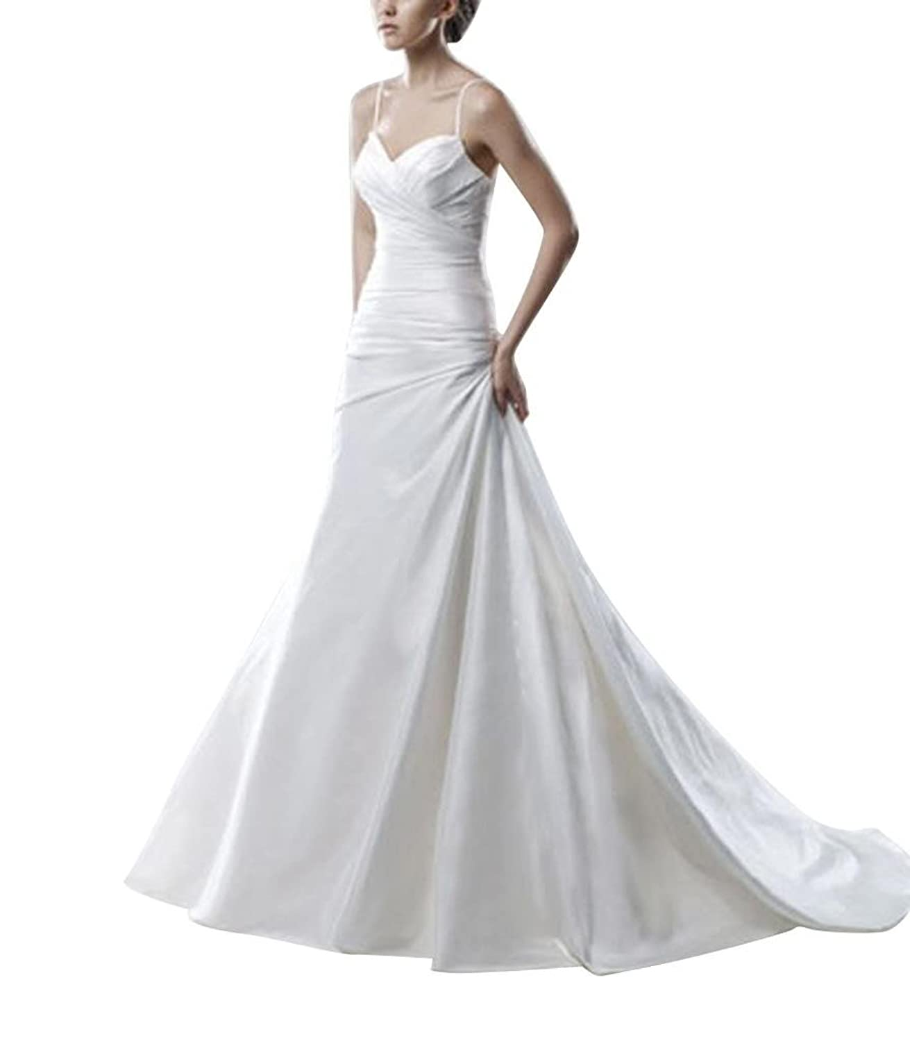 GEORGE BRIDE Simple Spaghetti Strap Sweetheart Neckline With Low Back Wedding Dress