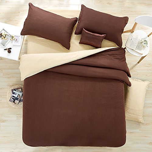 (Nova 4pcs Solid Candy Color Bed Sheet Set Cotton Material Double Color Blocking Design Twin Full Queen Size (Twin, Choclate& Beige))