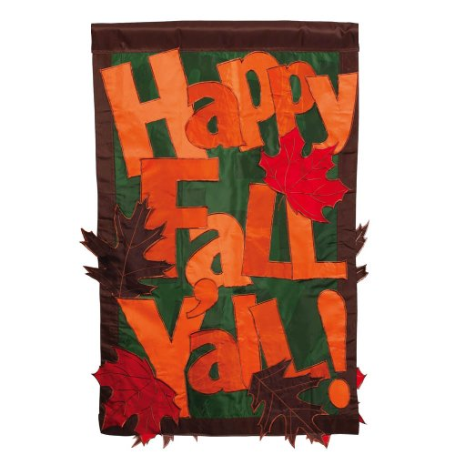 Evergreen Applique Happy Fall Y'All Garden Flag, 12.5 x 18 inches