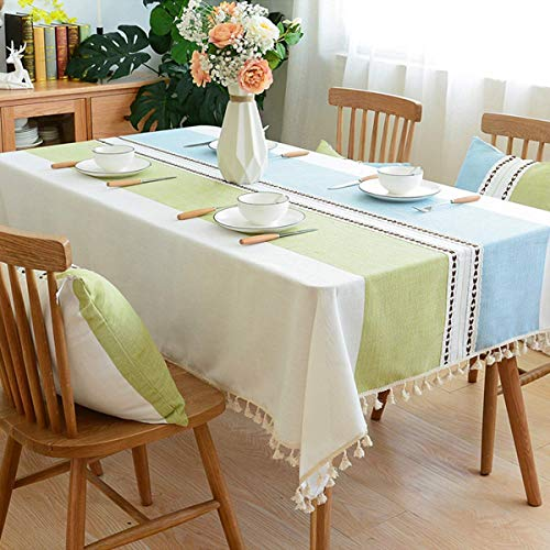 WLIVE Stitching Burlap Tablecloth with Tassel - Dust-Proof Linen Table Cover Heavy Duty Vintage Cotton for Kitchen Dinning Tabletop Decoration/Rectangle&Oblong