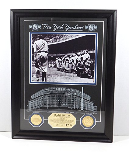 - Highland Mint Babe Ruth Photo with 2 Coins and Etched Glass Framed DA025189
