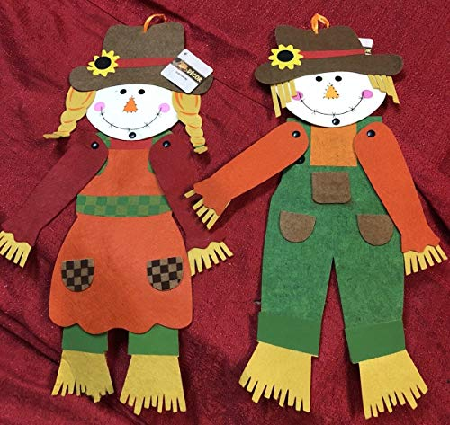 - Set of 2 Fall Autumn Jointed Felt Scarecrow Decor 20