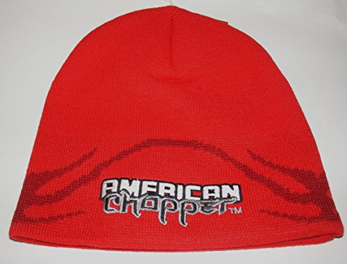 Officially Licensed American Chopper Embroidered Red Knit Beanie Cap Stocking Hat Beanie Hat Choppers