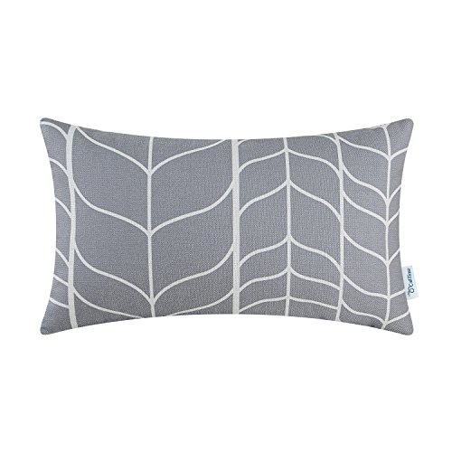 CaliTime Canvas Bolster Pillow Cover Case for Couch Sofa Home Decoration Modern Chevron Stem Panels Geometric 12 X 20 Inches Medium Grey