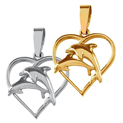 Double Dolphin and Heart Pendant - Solid 14k Yellow Gold or Sterling Silver 14k Gold Double Dolphins Pendant