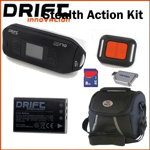 Drift Innovation HD170 Stealth Action Camera with HD Recording, 4x Digital Zoom and 1.5-Inch LCD Screen - Black. Bundle Including, Battery, 8GB SD Memory Card, Carrying Case, And USB Card Reader.