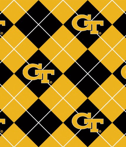 (Georgia Tech Polyester Fleece Fabric, Old Gold & White - Sold By the Yard )
