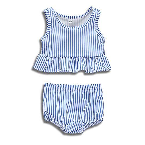 (Divilon Little Girls Cropped Peplum Tankini 2 Piece Sleeveless Striped Ruffles Swimsuit Summer Suit (Blue, 3 T))