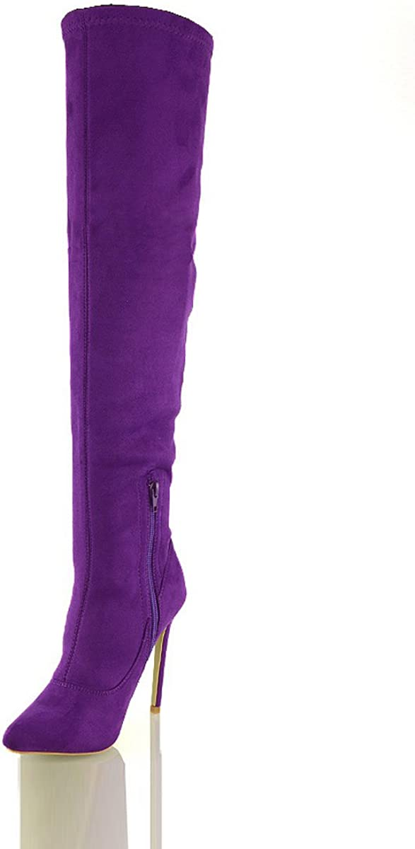 NEW WOMENS LADIES THIGH HIGH BOOTS OVER THE KNEE STRETCH EVENING SIZES 3-8