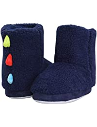 Kids Winter Indoor/Outdoor Plush Soft Knit Monster Bootie Slippers with Anti Slip Sole(Boys/Girls)