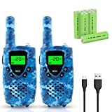 Walkie Talkies for Kids, FAYOGOO 22 Channel Walkie Talkies Two Way Radio 3 Miles (Up to 4 Miles) Long Range with Rechargeable Batteries and USB Cable, Toys for 3 Year Old Up Boys and Girls (Camo Blue)