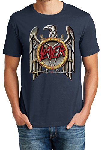 Big Mens Soft Cotton Slayer Rock Band Eagle Graphic Tee, Navy, - T-shirt Slayer Eagle