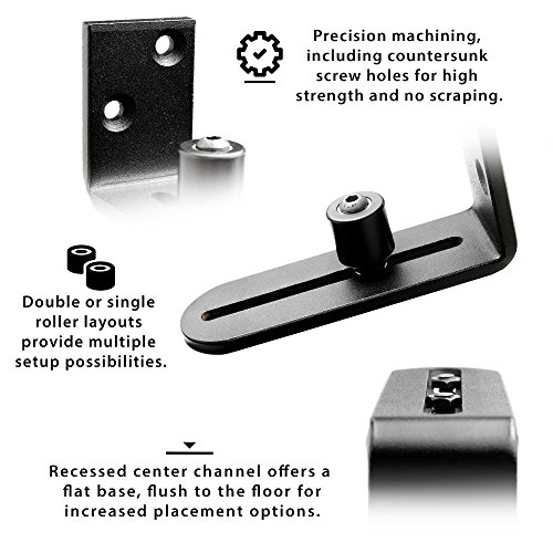 Fully Adjustable Wall Mounted Barn Door Guide - ORACLE GLIDE | IMPROVED DESIGN, Quiet, Lay-Flat System, Ball Bearing Technology, Safer Corners, Floor protecting. Hardware for Rolling and Sliding Doors by -ORACLE- (Image #2)