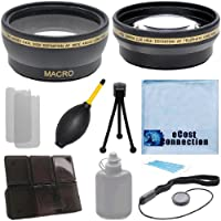 Pro Series 52mm 0.43x Wide Angle Lens + 2.2x Telephoto Lens with Deluxe Lens Accessories Kit for Canon EF 40mm 2.8 STM Lens, EF 50mm 1.8 II Lens, EF 50mm 2.5 Compact Macro Lens, EF-S 60mm 2.8 Macro USM Lens and Other Models.