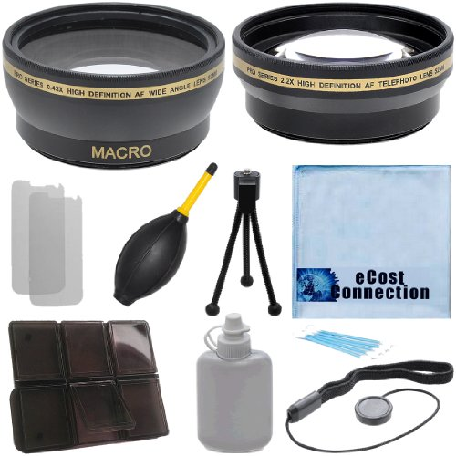 Pro Series 52mm 0.43x Wide Angle Lens + 2.2x Telephoto Lens with Deluxe Lens Accessories Kit for Canon T1i T2i T3 T3i T4i T5i SL1 30D 40D 50D 60D 5D - Canon 52 Off Camera T5i