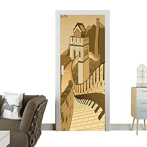 (Door Sticker Wall Decals Wall Ch Ancient Castle Sunset Silk Road Barrier Old Cultural Easy to Peel and StickW38.5 x H79 INCH)