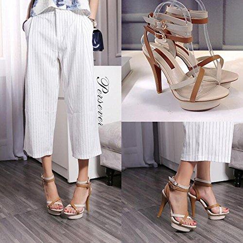 Peep Toe tobillo correa de la bomba de costura color personalidad impermeable plataforma de tacón alto zapatos de cuero romano sandalias para las mujeres Beige