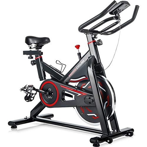 Merax Deluxe Indoor Cycling Bike Cycle Trainer Exercise Bicycle (Black with Red) by Merax (Image #7)