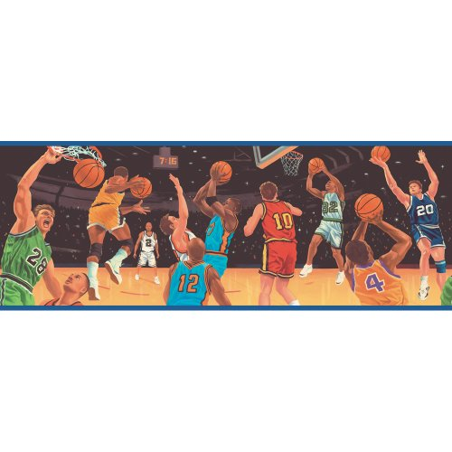 Decorate By Color BC1581125 Primary Colored All Dunks Border (Basketball Wallpaper Borders)