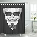 really cool shower heads Emvency Shower Curtain 72x78 Inches Black Pig Portrait of Piggy in Suit White Cool Vintage Drawing Glasses Animal Mildew Resistant Machine Washable