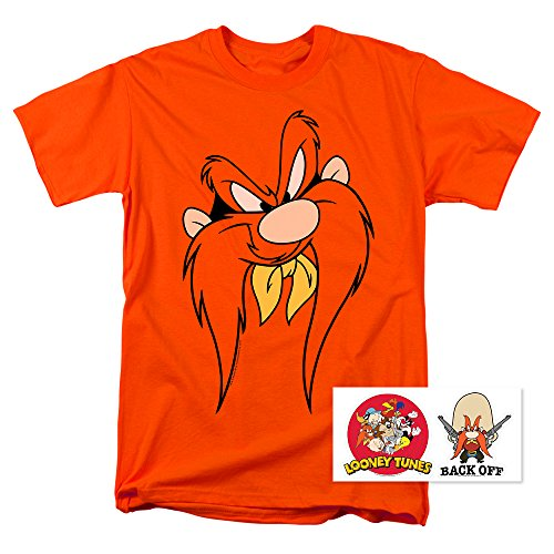 Looney Tunes Yosemite Sam Face T Shirt & Exclusive Stickers (X-Large)