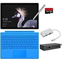 2017 New Surface Pro Bundle ( 6 Items ): Core i5 4GB RAM 128GB Tablet, Surface Dock, Surface Type Cover Light Blue (2016), Surface Pen Silver, 128GB Micro SD Card, Mini DisplayPort Adapter