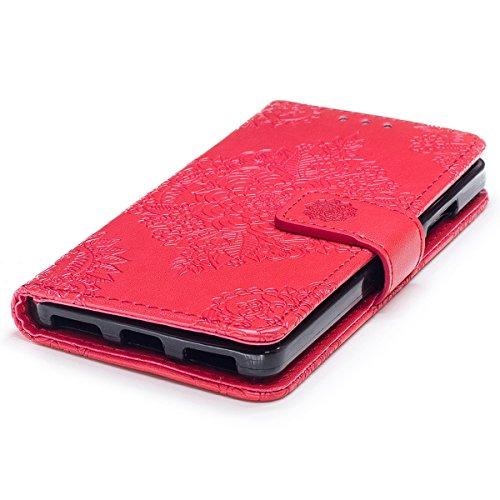 Funda Huawei Honor 7, WE LOVE CASE Piel y Tipo Cartera Carcasa Funda Flor Huawei Honor 7 con Tapa Flip Wallet caso de Cuero Billetera Original Funda Que Se Pega con Ranura Para Tarjeta Card Holder y S Red