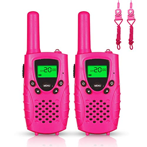 FAYOGOO Kids Walkie Talkies, 22-Channel FRS/GMRS Radio, 4-Mile Range Two Way Radios with Flashlight and LCD Screen, Best Gifts and Toys for Girls, 2 Pack, Pink