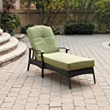 Better Homes and Gardens Providence Chaise Lounge, with UV-protected Fabric Cushions and Adjustable Back,Sit Comfortably,Perfect for Outdoor (Green)