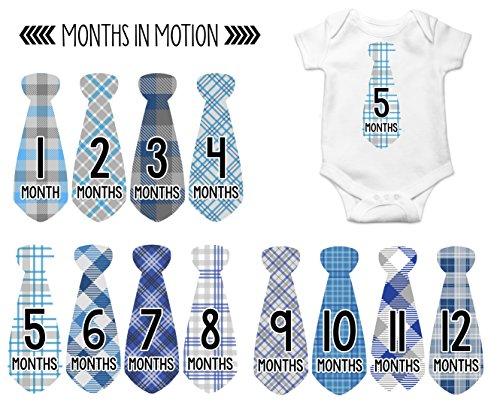 Monthly Baby Stickers Necktie Tie Boy Month Milestone Sticker Months in Motion (Months Boys One Piece)