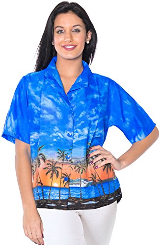 regalo para mujer ropa de playa para cubrir la piel top de manga corta Tirantes se�oras del vestido del luau hawaiano Azul