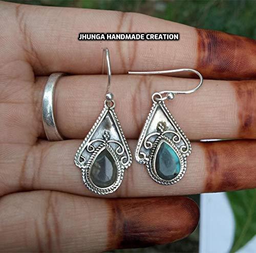 Elegant 925 Sterling Silver Labradorite Round Earrings Studs Gemstone