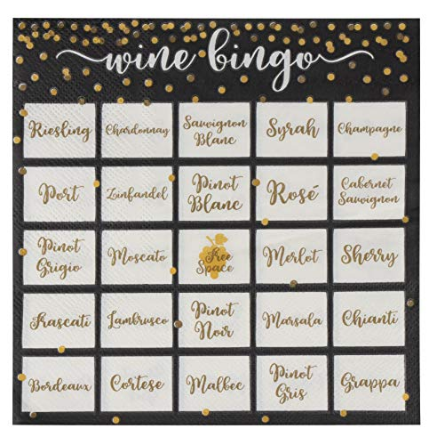 Fun Wine Napkins - 100-Pack Disposable Paper Napkins, 2-Ply, Wine Tasting Party Supplies, Wine Bingo Print, Black, Luncheon Size Folded 6.5 x 6.5 -