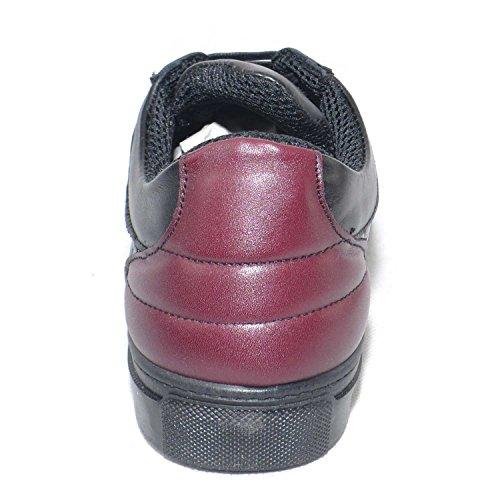 Bordeaux Pelle Italy Bicolore Vera Made Trapuntato Moda Nero Vitello In E Uomo Sneakers Bassa Scarpe 8xnHHA
