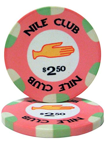 - 25 $2.50 Nile Club 10 Gram Ceramic Casino Quality Poker Chips