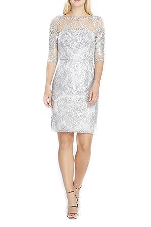 f8945b4decb2 Tahari Brand - Sequin Illusion Sheath Dress - Silver at Amazon ...