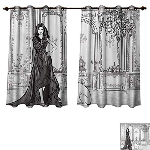 RuppertTextile Teen Room Bedroom Thermal Blackout Curtains Sexy Fashion Woman in Victorian Palace with Dog Baroque Illustration Blackout Draperies for Bedroom Dark Grey and White W55 x L72 inch ()
