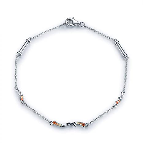 Gems.RDX Pulsera de Zafiro Color Oro Blanco de 18 k. Mujeres ...