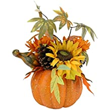 """Northlight Autumn Harvest Artificial Pumpkin with Sunflowers Mums and Pine Cones Decoration, 10"""""""