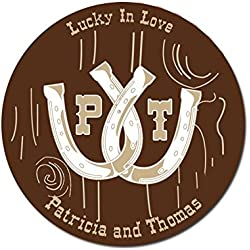 Personalized Customized Wedding Favor Stickers - Lucky In Love Horseshoes Rustic Western - Choose Your Size