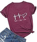 Faith Hope Love Funny Jesus T-Shirt Women's Letter Printed Short Sleeve Tops Tee Size XXL (Burgundy)